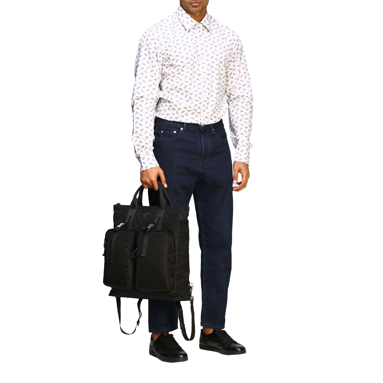 Sac / sac à dos shopping Prada en nylon avec logo triangulaire noir 2