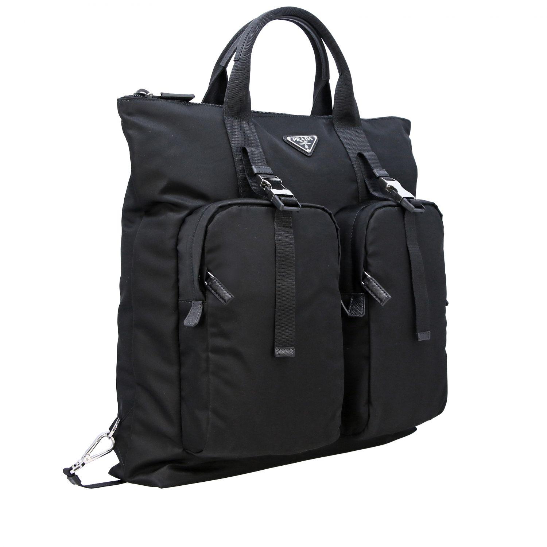 Sac / sac à dos shopping Prada en nylon avec logo triangulaire noir 3