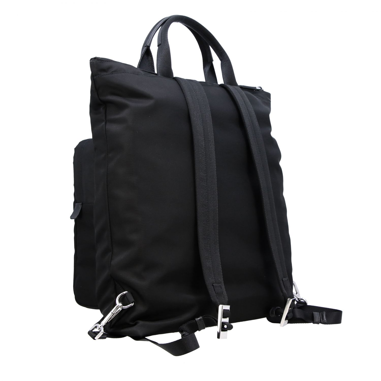 Sac / sac à dos shopping Prada en nylon avec logo triangulaire noir 4