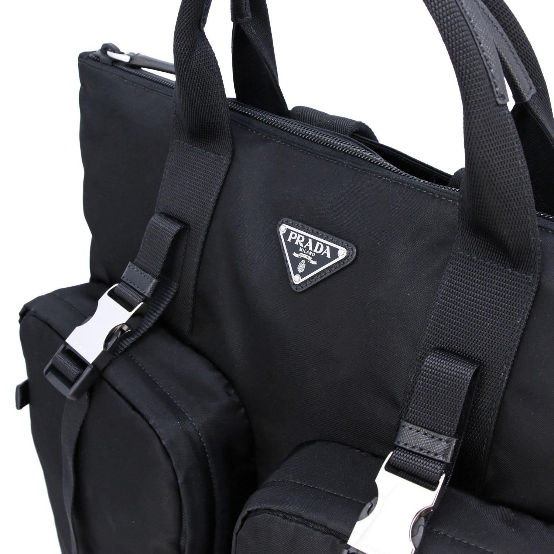 Sac / sac à dos shopping Prada en nylon avec logo triangulaire noir 5