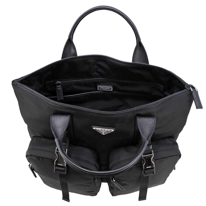Sac / sac à dos shopping Prada en nylon avec logo triangulaire noir 6