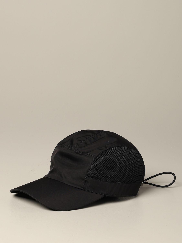 Prada Hut aus Nylon und Mesh mit Logo schwarz 1