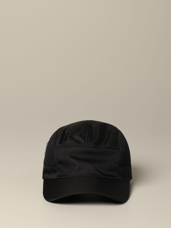 Prada Hut aus Nylon und Mesh mit Logo schwarz 2
