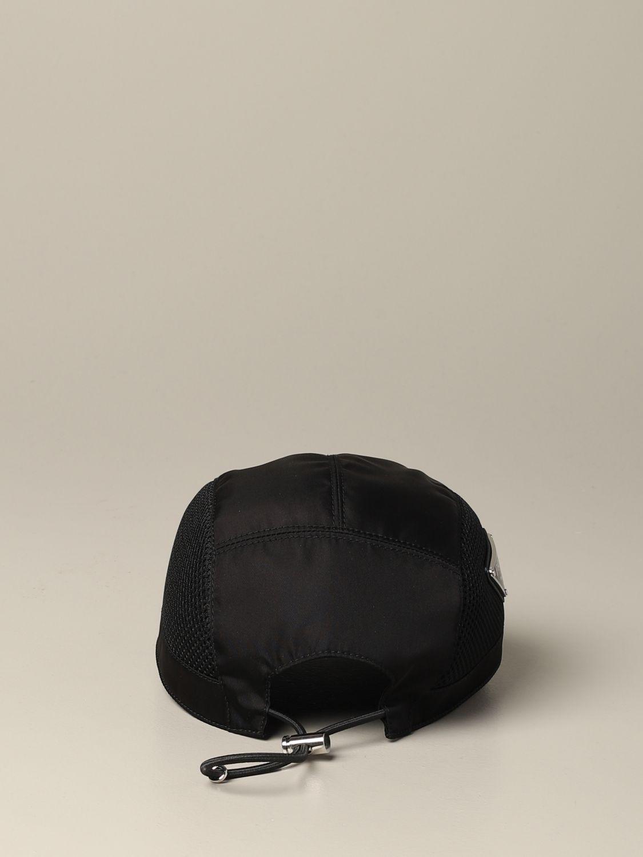 Prada Hut aus Nylon und Mesh mit Logo schwarz 3