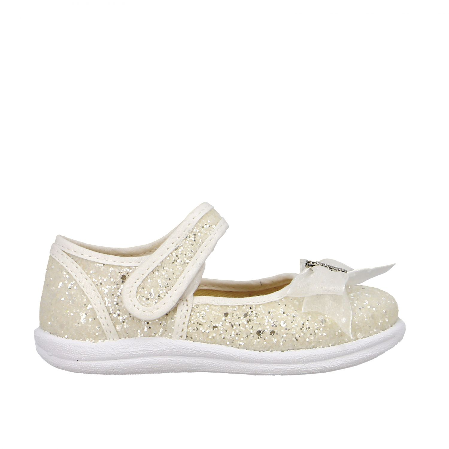 Monnalisa ballet flats in glitter fabric with bow and rhinestones white 1