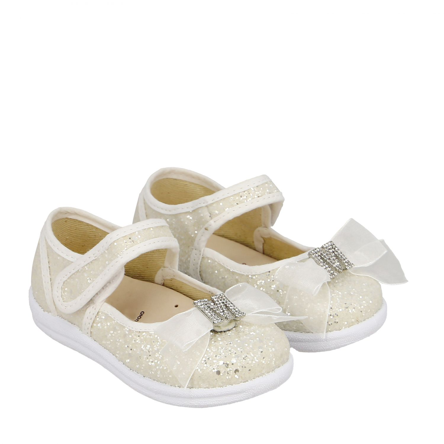 Monnalisa ballet flats in glitter fabric with bow and rhinestones white 2