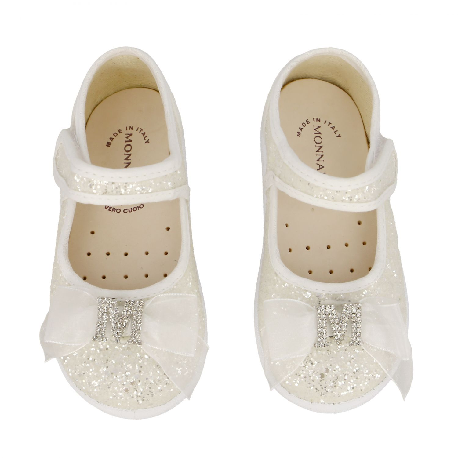Monnalisa ballet flats in glitter fabric with bow and rhinestones white 3