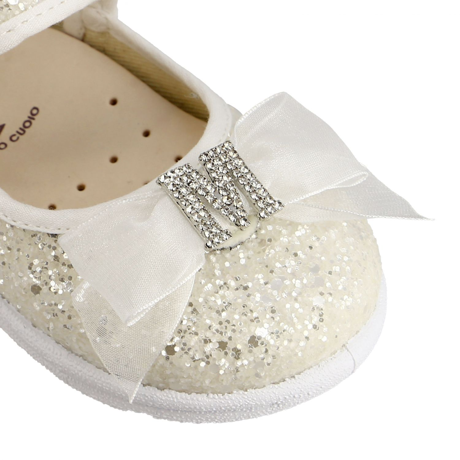 Monnalisa ballet flats in glitter fabric with bow and rhinestones white 4