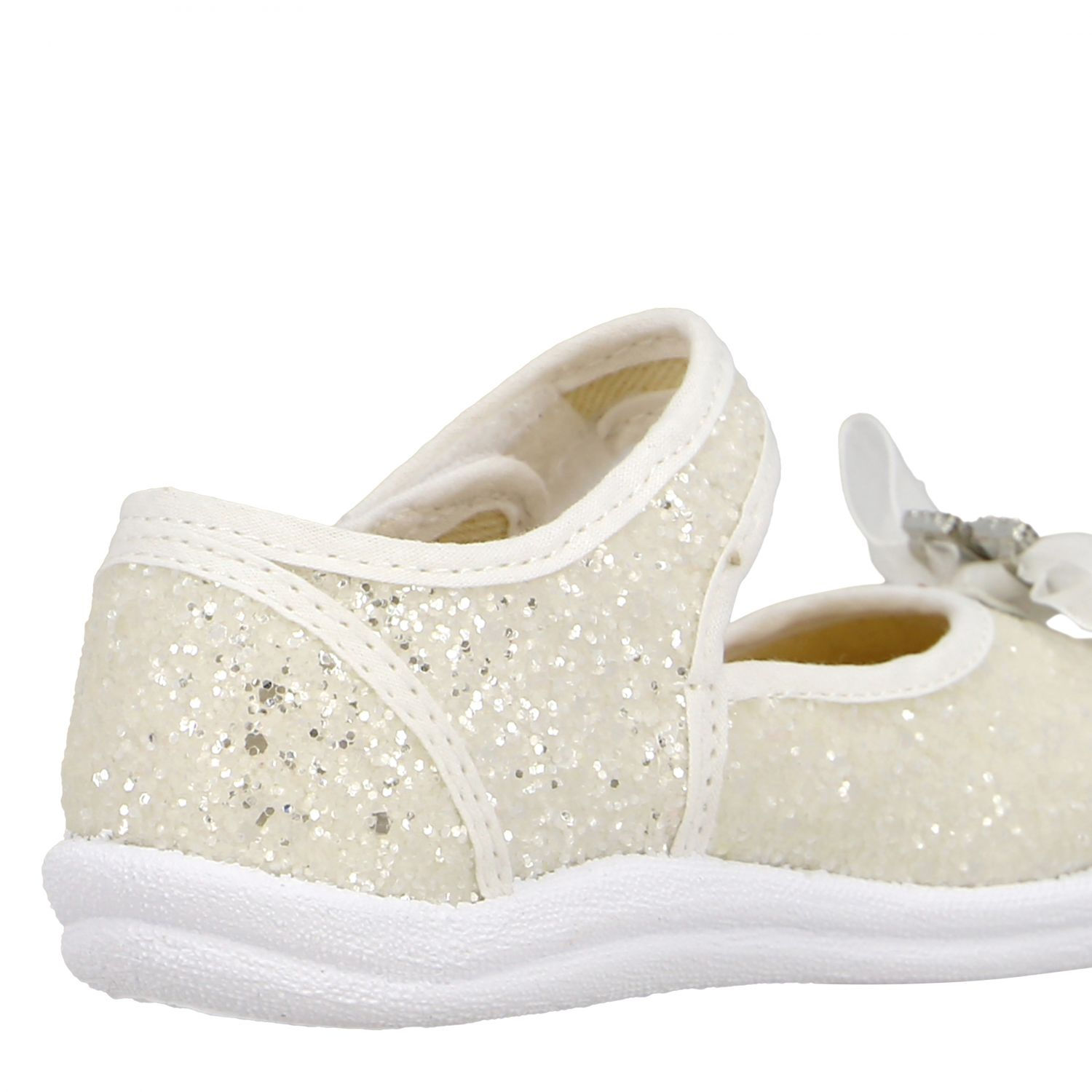 Monnalisa ballet flats in glitter fabric with bow and rhinestones white 5