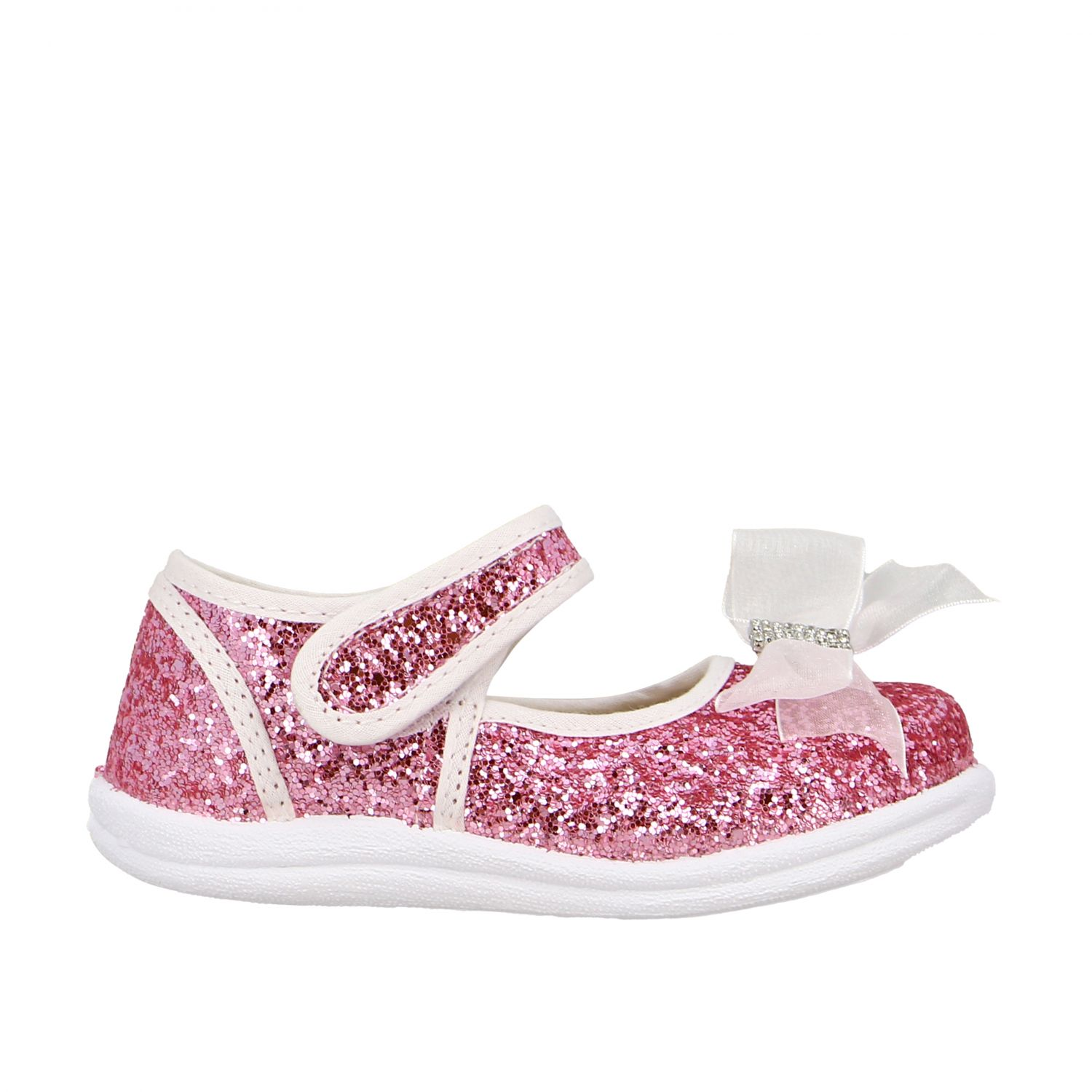 Monnalisa ballet flats in glitter fabric with bow and rhinestones pink 1