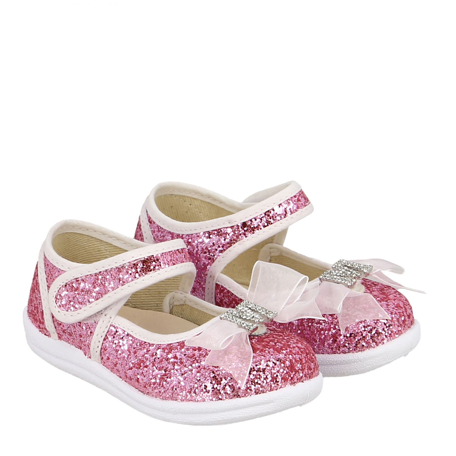Monnalisa ballet flats in glitter fabric with bow and rhinestones pink 2