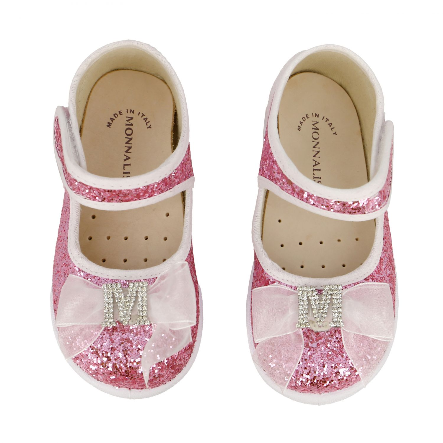 Monnalisa ballet flats in glitter fabric with bow and rhinestones pink 3