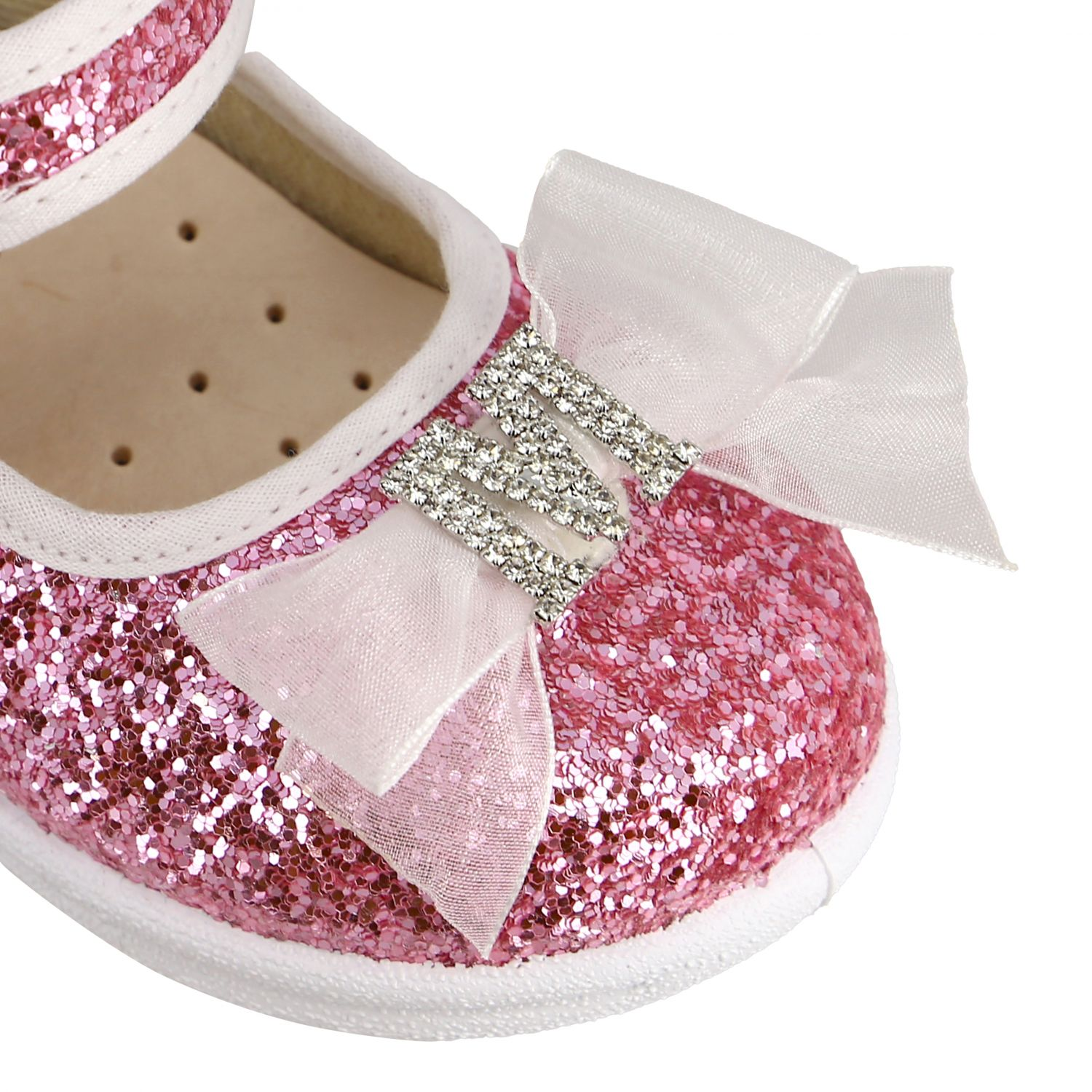 Monnalisa ballet flats in glitter fabric with bow and rhinestones pink 4