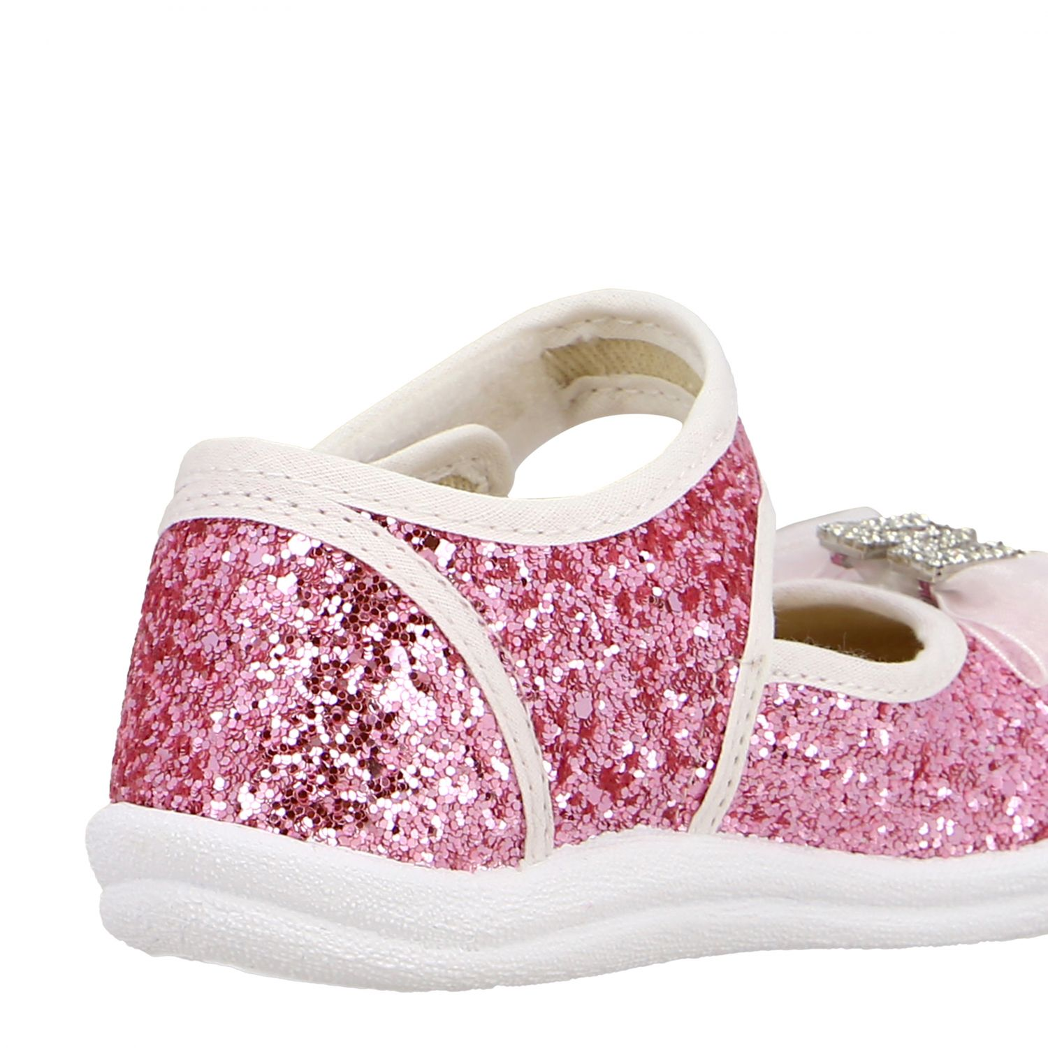 Monnalisa ballet flats in glitter fabric with bow and rhinestones pink 5
