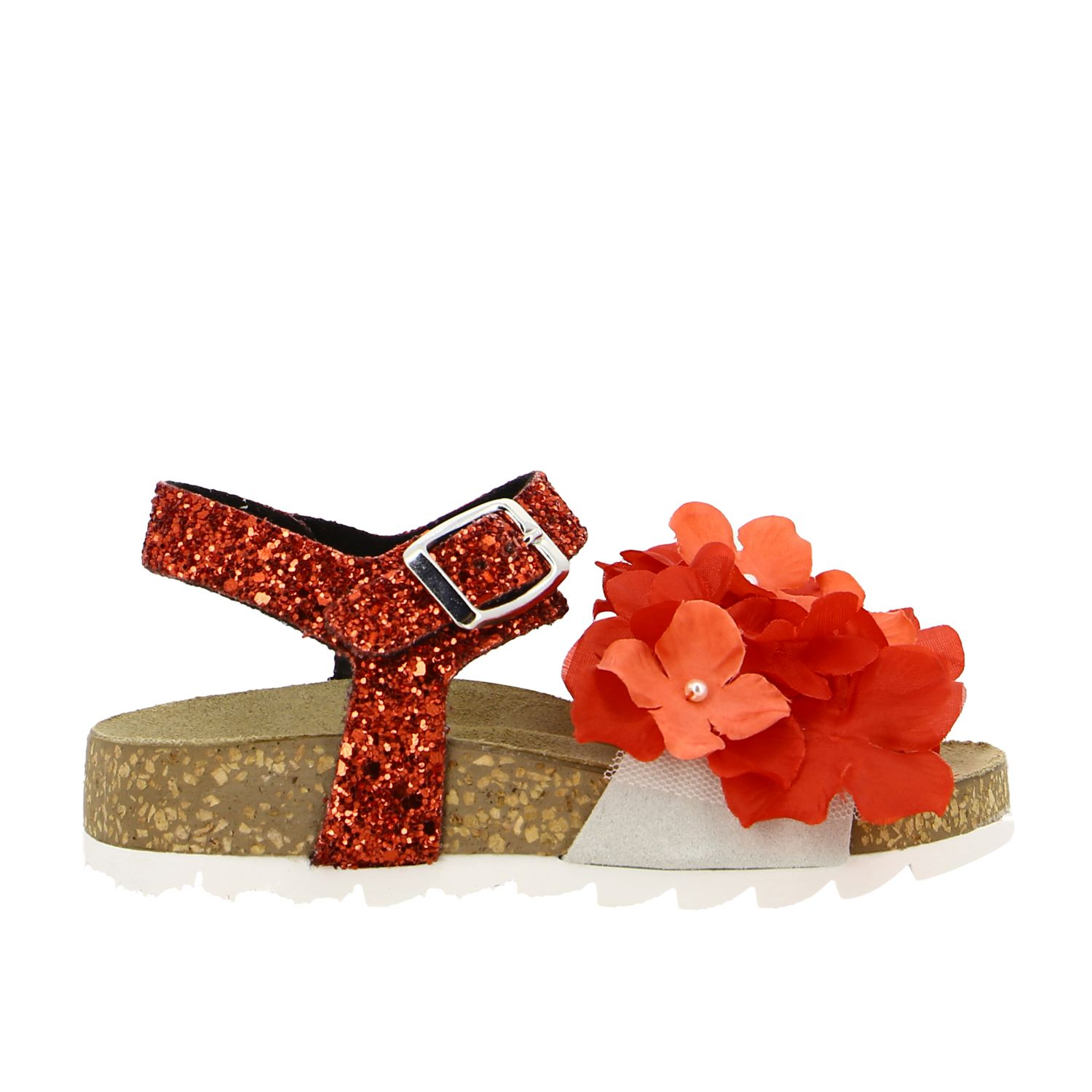 Monnalisa glitter sandal with floral applications red 1
