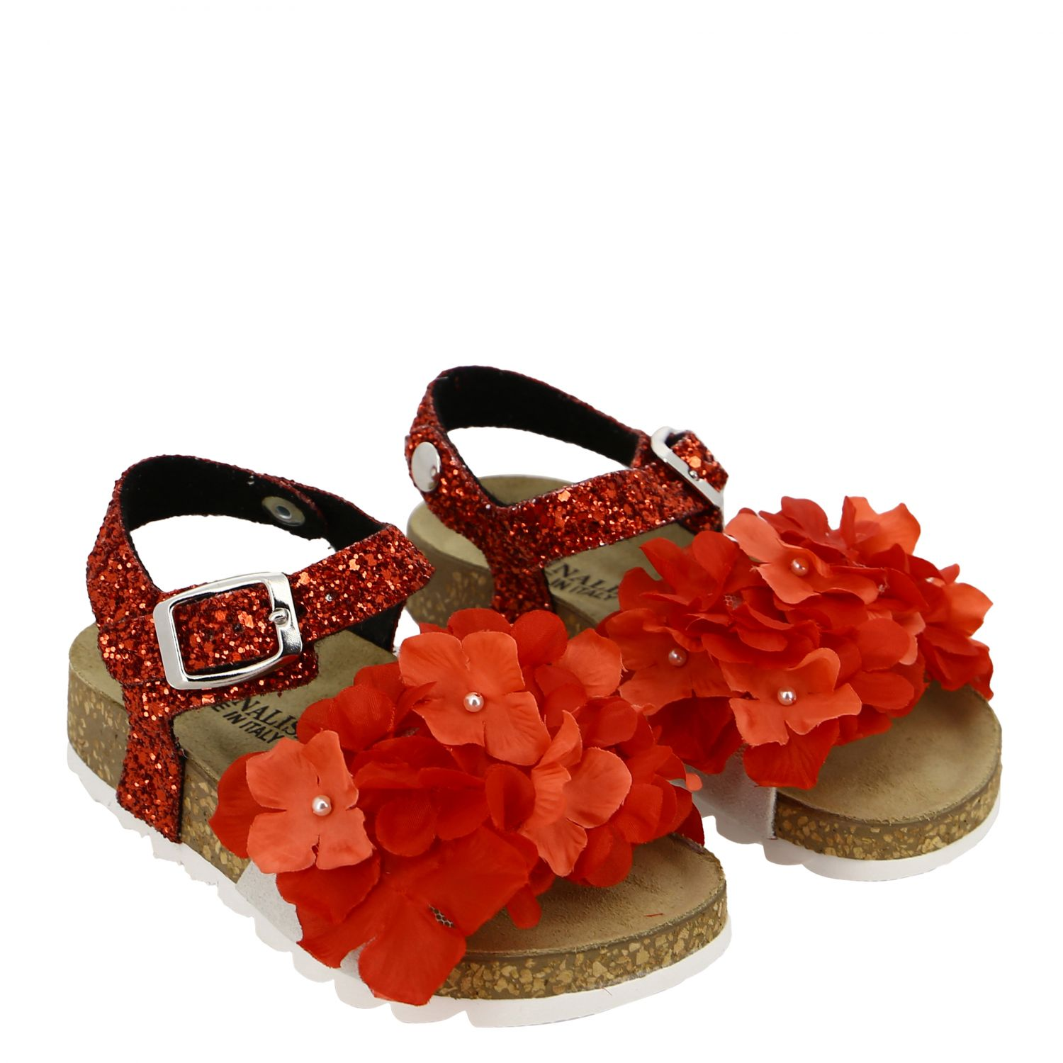 Monnalisa glitter sandal with floral applications red 2