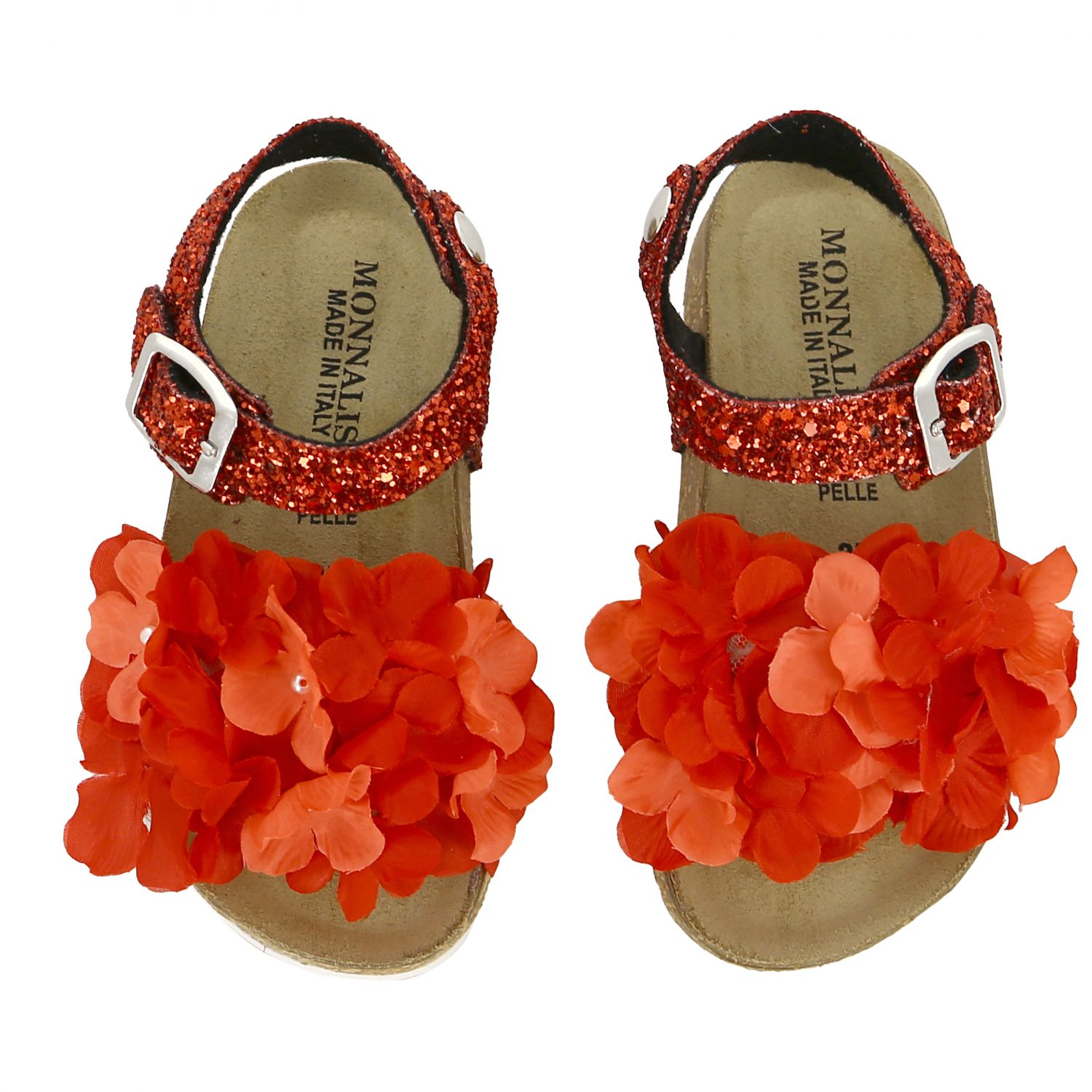Monnalisa glitter sandal with floral applications red 3