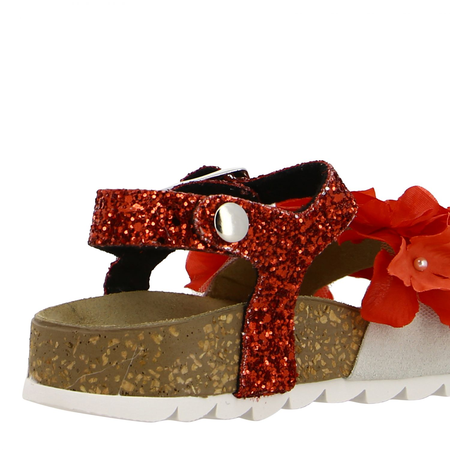 Monnalisa glitter sandal with floral applications red 5