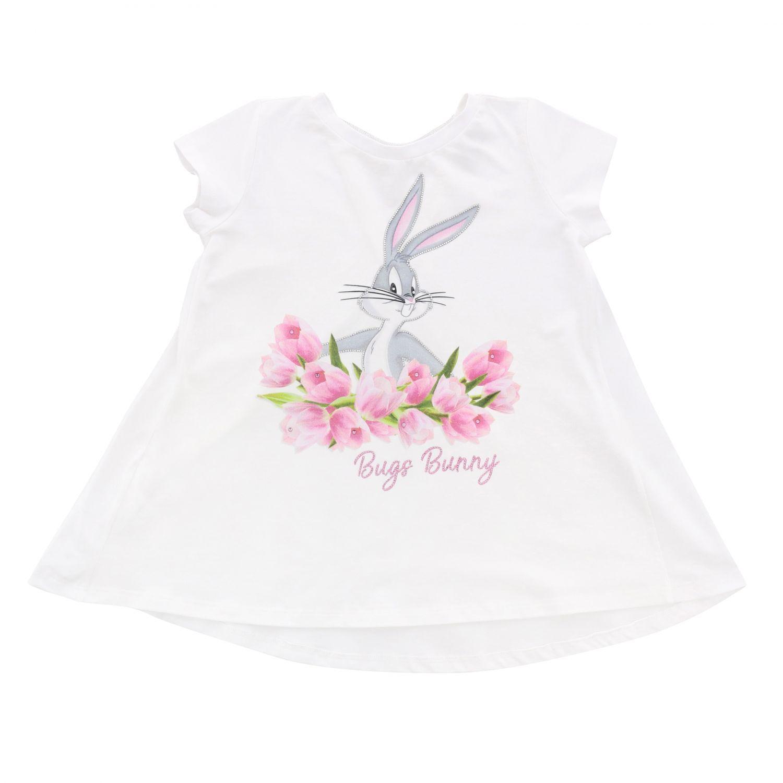 T-shirt à manches courtes Monnalisa avec imprimé bugs bunny et strass blanc 1