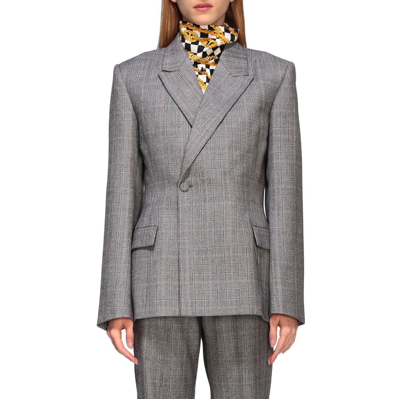Tailleur Balenciaga: Veste Waisted Balenciaga en laine sartoriale check gris 1