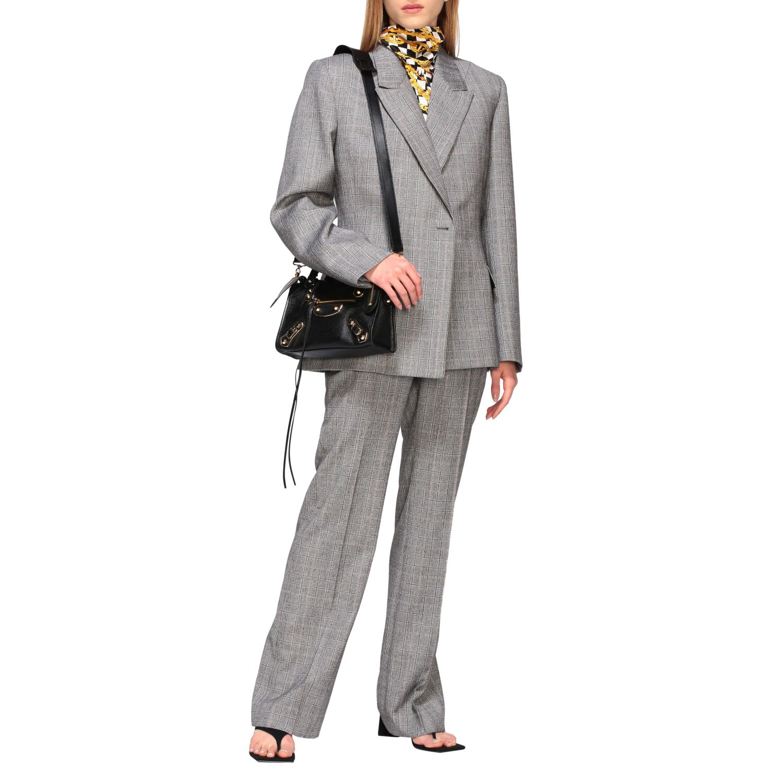 Tailleur Balenciaga: Veste Waisted Balenciaga en laine sartoriale check gris 2
