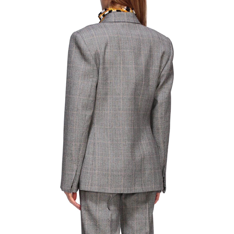 Tailleur Balenciaga: Veste Waisted Balenciaga en laine sartoriale check gris 3