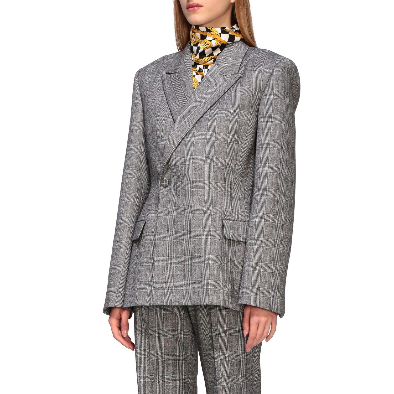 Tailleur Balenciaga: Veste Waisted Balenciaga en laine sartoriale check gris 4