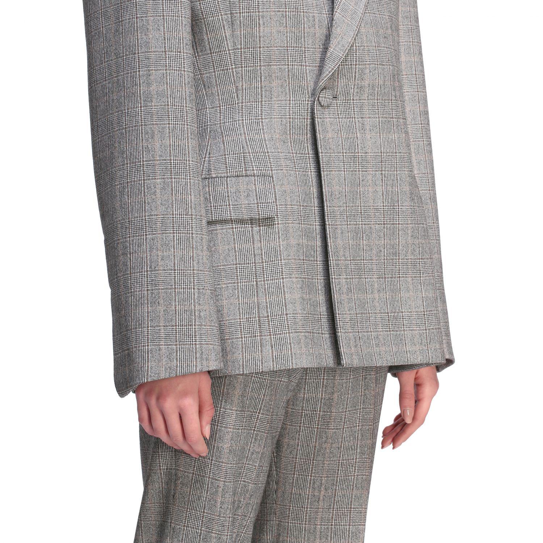 Tailleur Balenciaga: Veste Waisted Balenciaga en laine sartoriale check gris 5