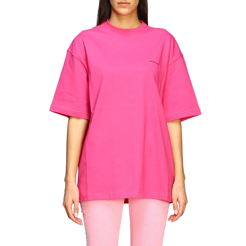 T-shirt Balenciaga over con logo copyright fuxia 1