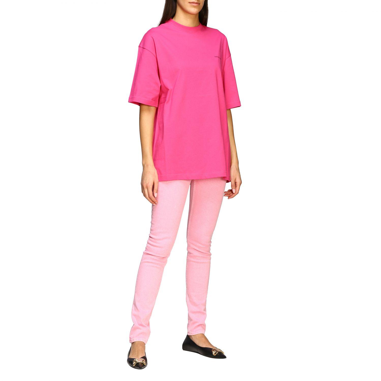 T-shirt Balenciaga over con logo copyright fuxia 2
