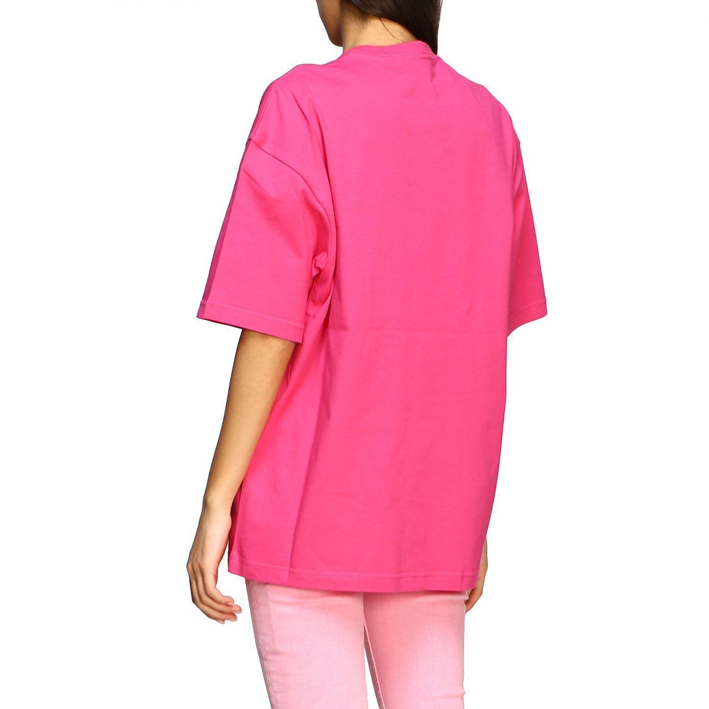 T-shirt Balenciaga over con logo copyright fuxia 3