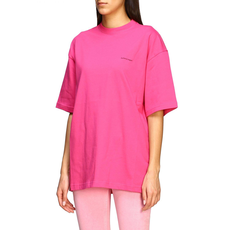 T-shirt Balenciaga over con logo copyright fuxia 4