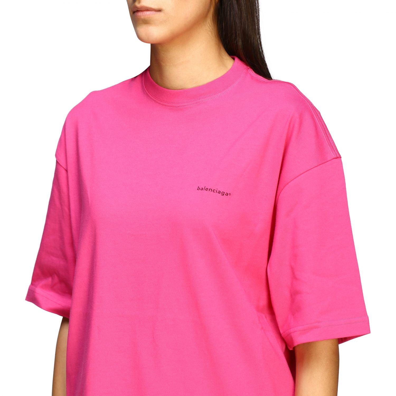 T-shirt Balenciaga over con logo copyright fuxia 5