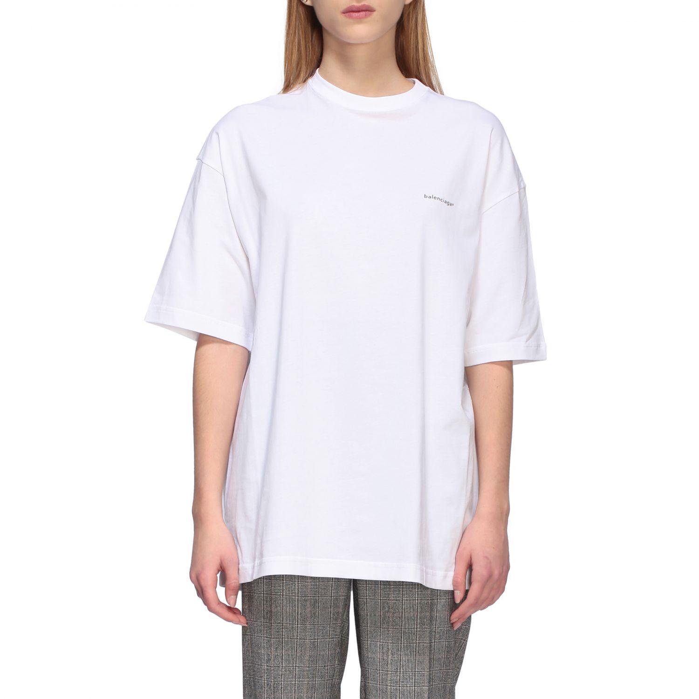 T-shirt Balenciaga over a girocollo con logo copyright bianco 1