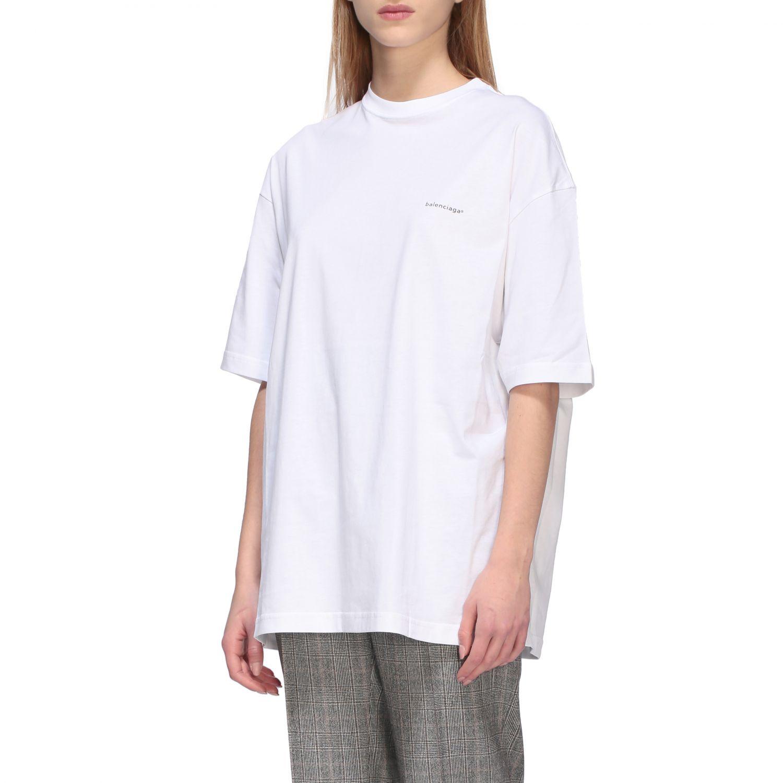 T-shirt Balenciaga over a girocollo con logo copyright bianco 4