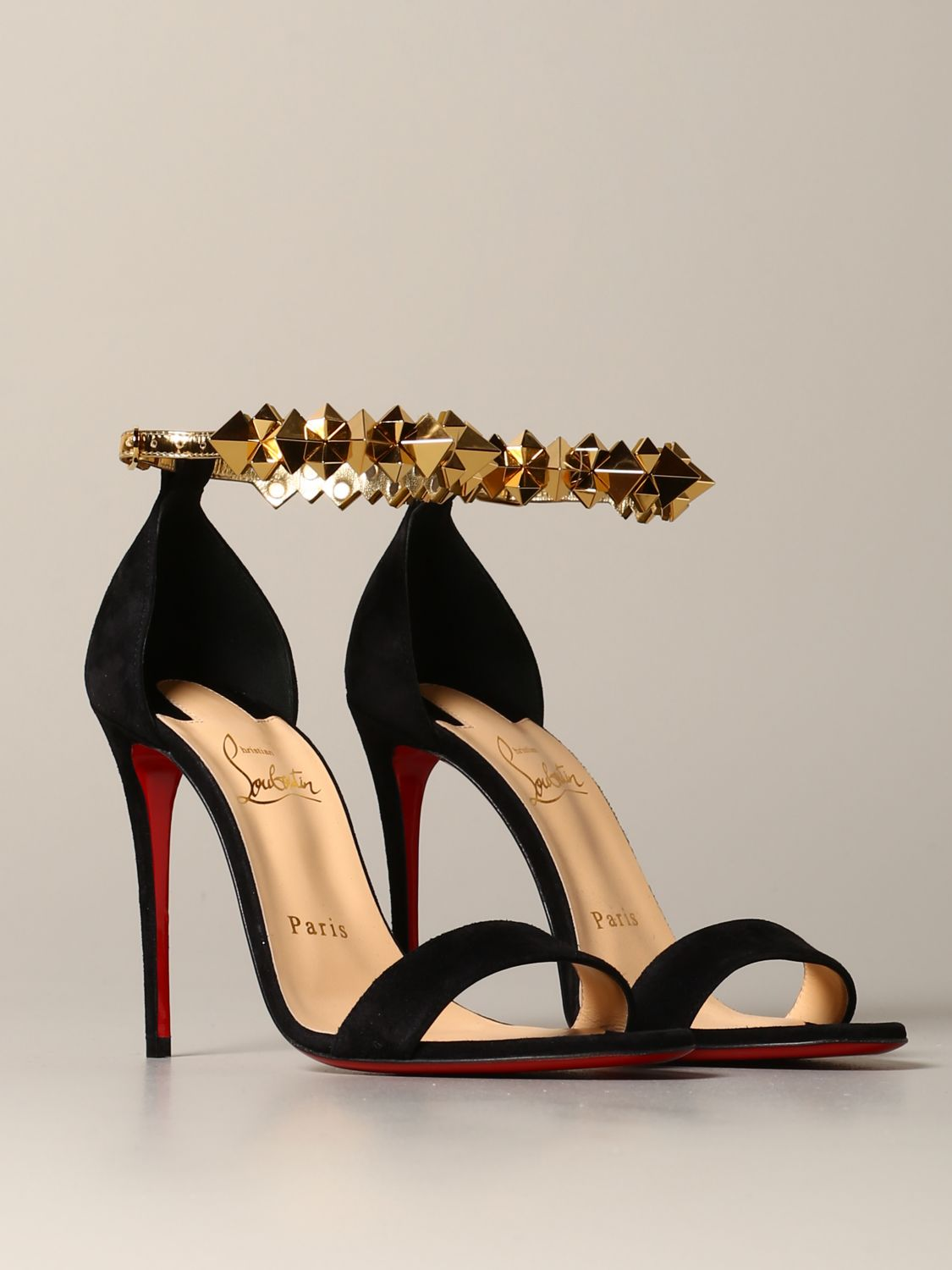 Christian Louboutin Planetava sandal in suede with studs black 2