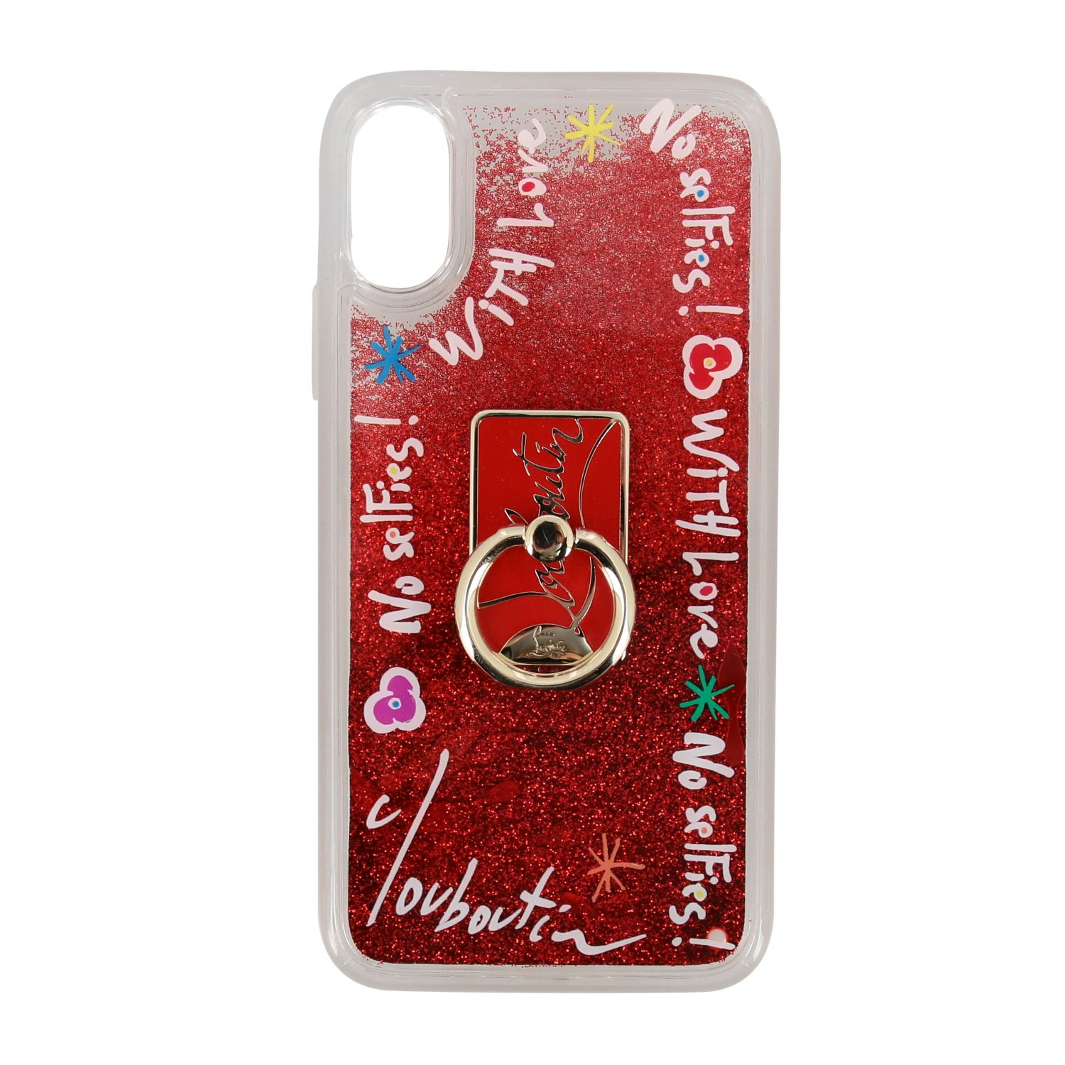 Christian Louboutin cover in rubber with glitter and prints transparent 1