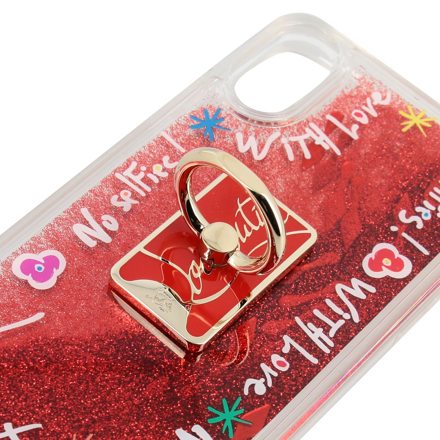 Christian Louboutin cover in rubber with glitter and prints transparent 3