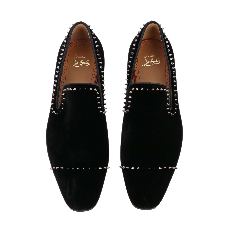 Dandeton Spikes Christian Louboutin flat moccasin in velvet with studs black 3