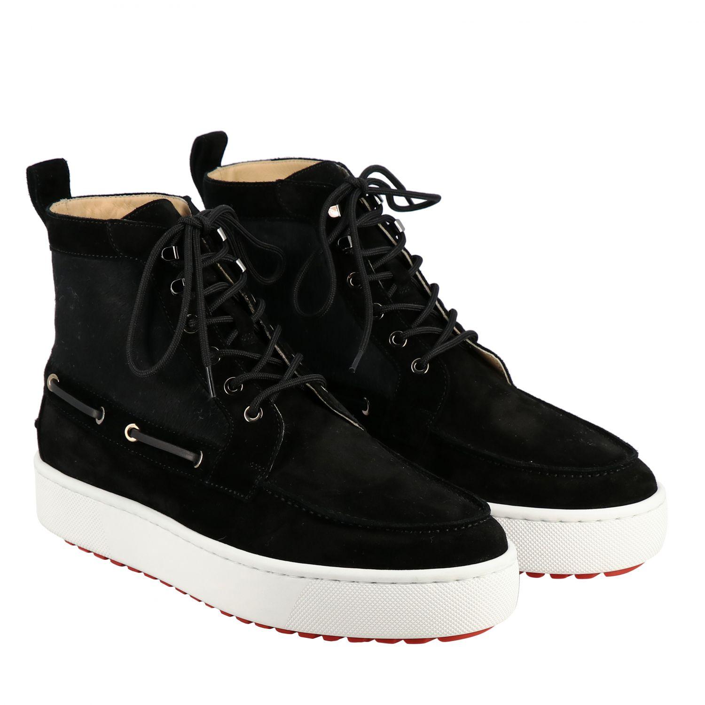 Sneakers Christian Louboutin: Christian Louboutin Toronto Leder Sneakers aus Wildleder und Cavallino schwarz 2