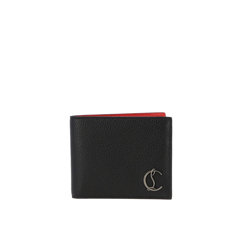 Portafoglio Cool card Christian Louboutin in pelle martellata nero 1