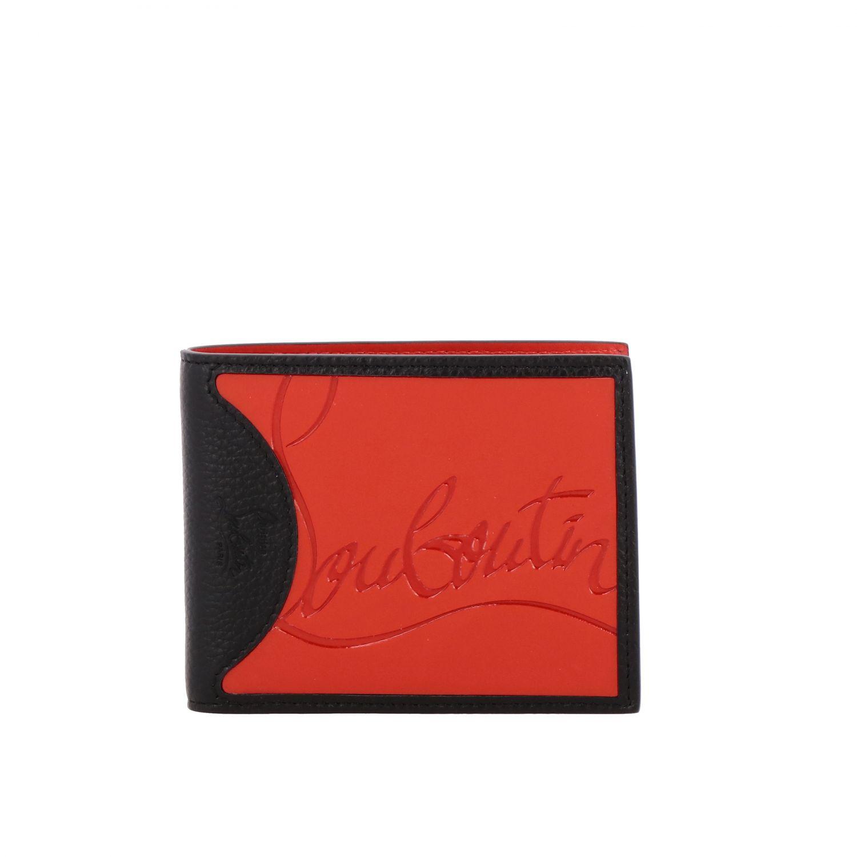 Christian Louboutin Geldbörse aus strukturiertem Leder mit zweifarbigem Logo schwarz 1