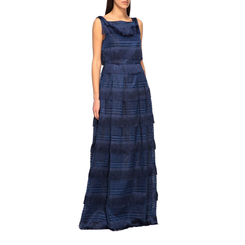 Dress Alberta Ferretti: Alberta Ferretti long dress with fringes blue 1