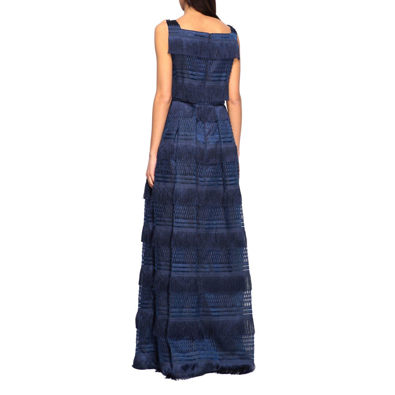 Dress Alberta Ferretti: Alberta Ferretti long dress with fringes blue 2