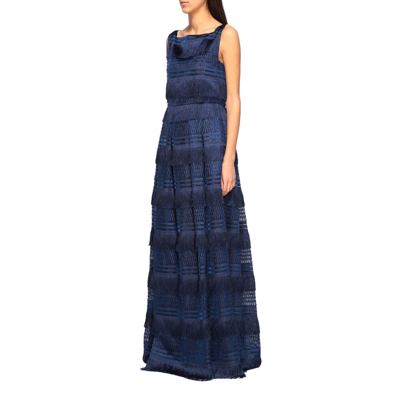 Dress Alberta Ferretti: Alberta Ferretti long dress with fringes blue 3