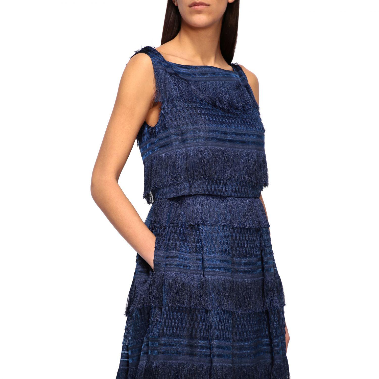 Dress Alberta Ferretti: Alberta Ferretti long dress with fringes blue 4
