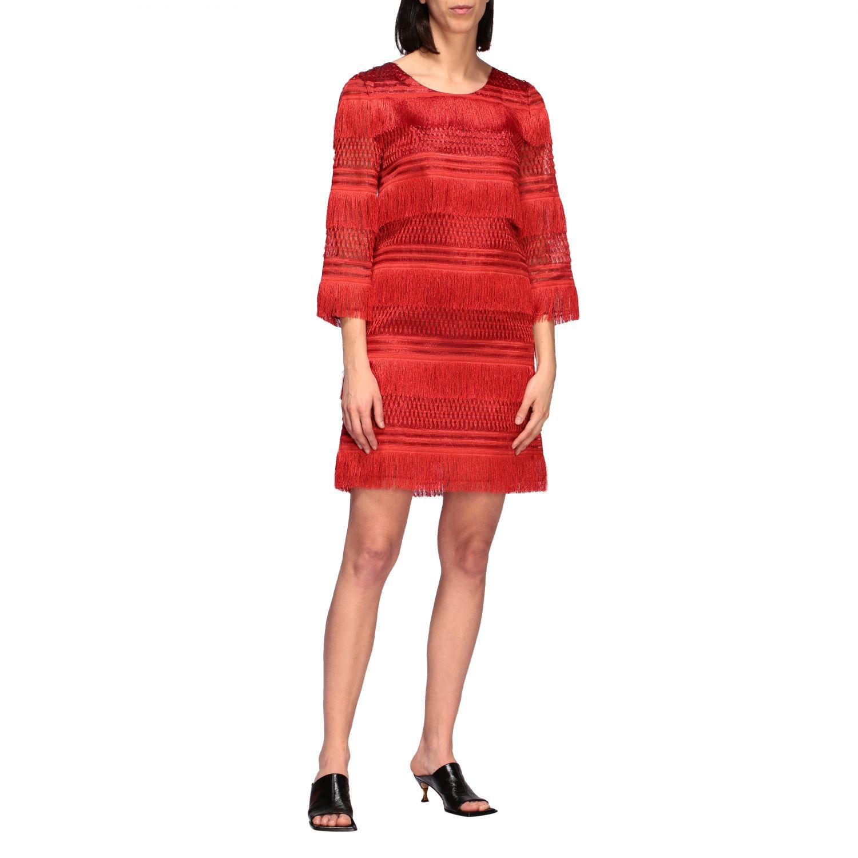 连衣裙 Alberta Ferretti: Alberta Ferretti 流苏连衣裙 红色 1