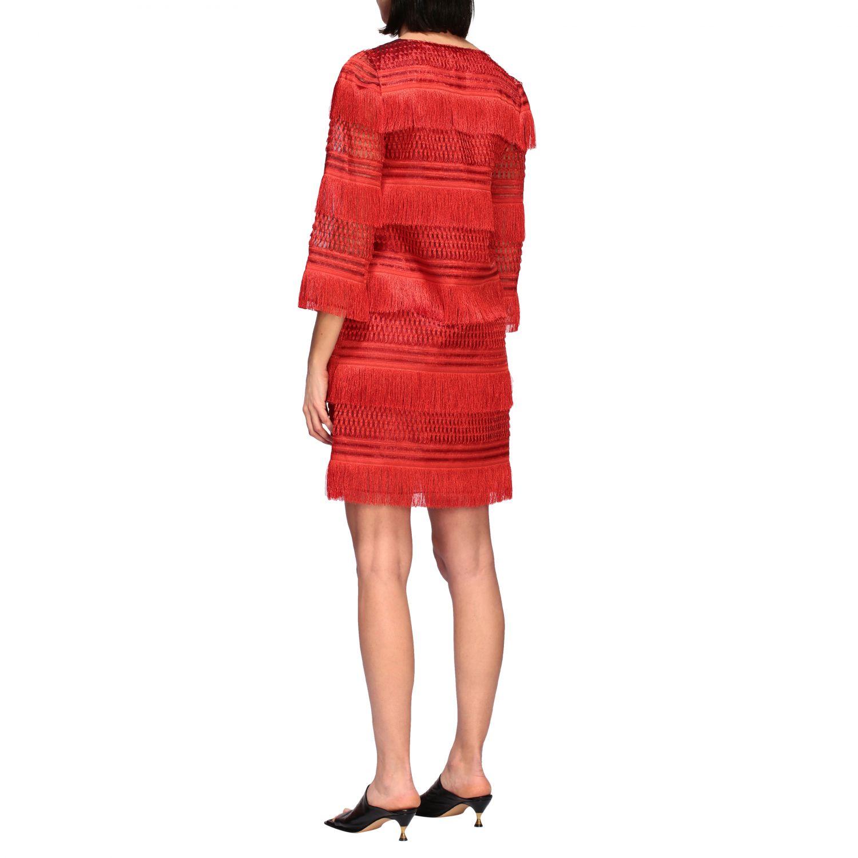 连衣裙 Alberta Ferretti: Alberta Ferretti 流苏连衣裙 红色 2