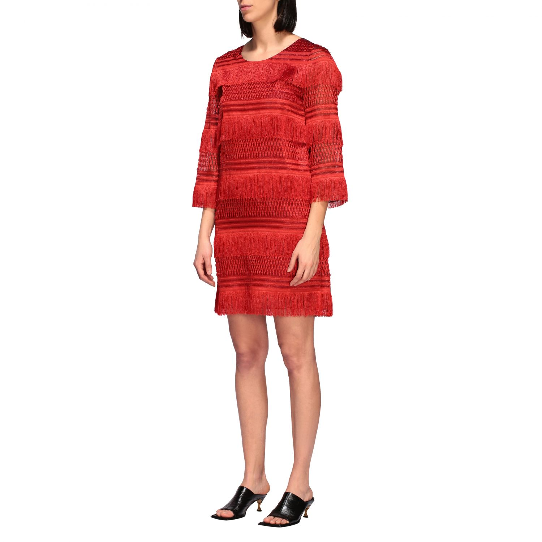连衣裙 Alberta Ferretti: Alberta Ferretti 流苏连衣裙 红色 3