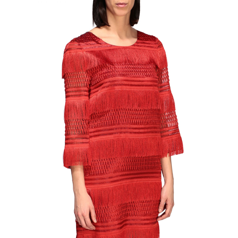 连衣裙 Alberta Ferretti: Alberta Ferretti 流苏连衣裙 红色 4